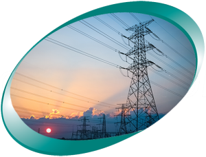 Sunrise and high tension tower