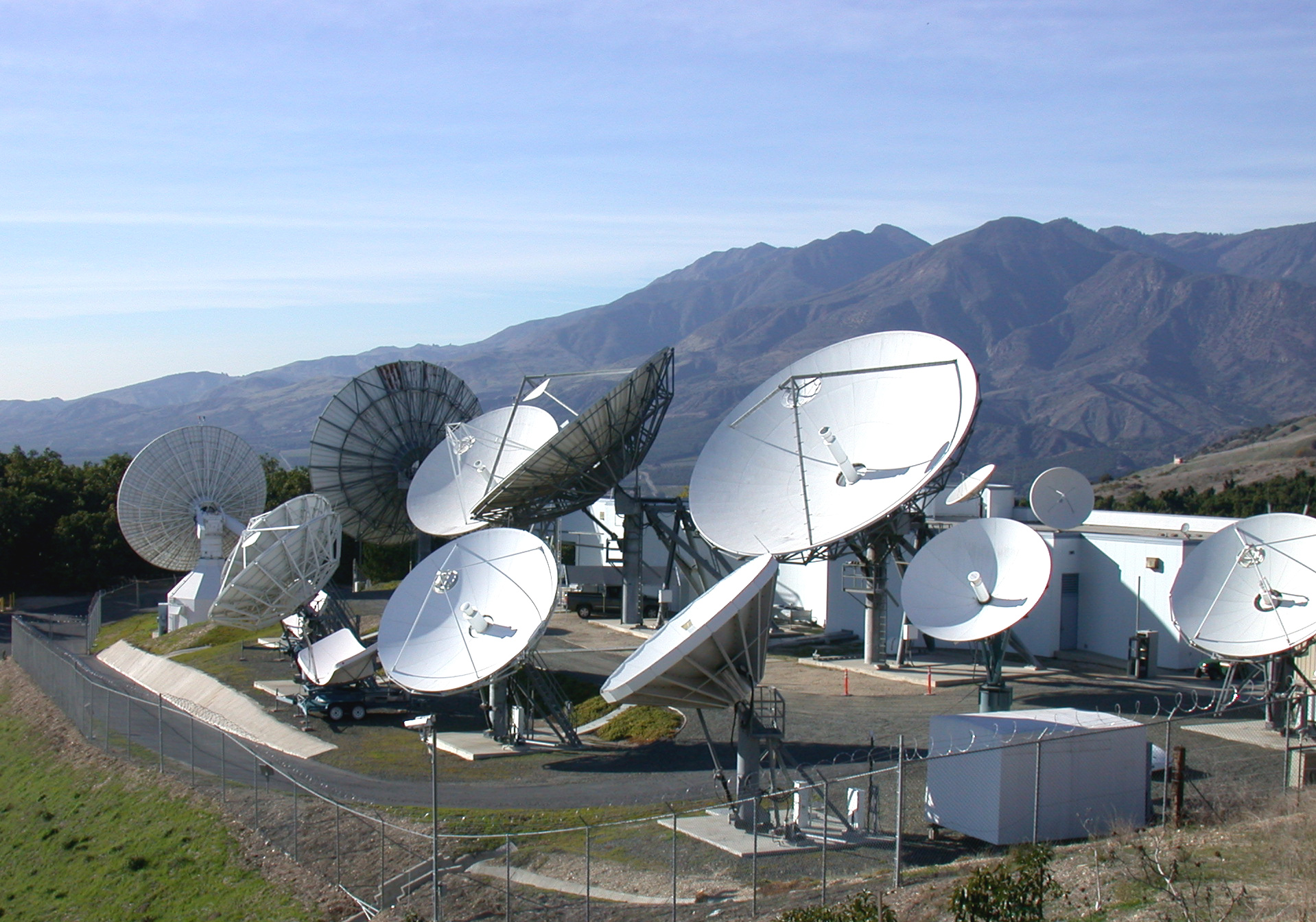 Satellite dish array at satellite service provider