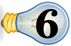 Number 6 inside a small light bulb