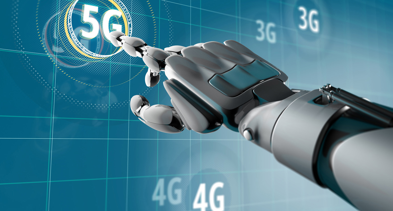 The Future of 5G is Now | Robotic hand points to a lit-up 5G symbol