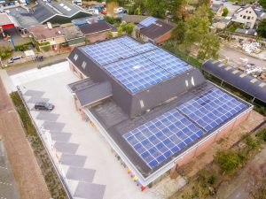 Solar Energy Savings | Aerial view of school with rooftop solar installation