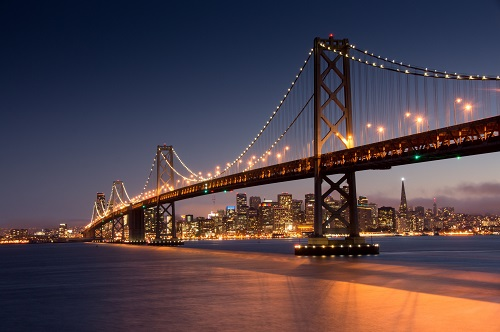Why businesses measure GHG emissions | Golden Gate Bridge at night | Cost Control Associates